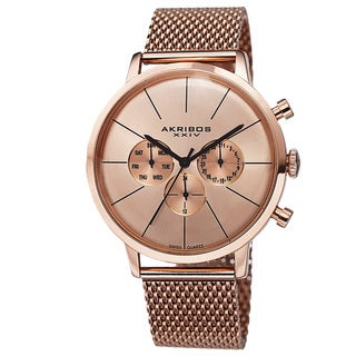 Akribos XXIV Men's Sunray Dial Multifunction Stainless Steel Mesh Rose-Tone Strap Watch