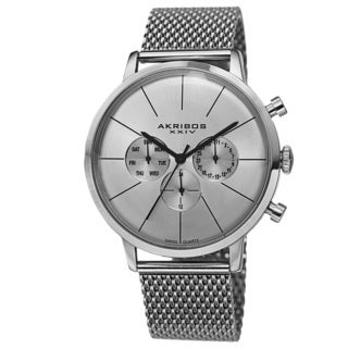 Akribos XXIV Men's Sunray Dial Multifunction Stainless Steel Mesh Silver-Tone Strap Watch