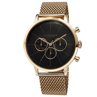 Akribos XXIV Men's Sunray Dial Multifunction Stainless Steel Mesh Gold-Tone Strap Watch with GIFT BOX