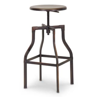 "Industrial Metal 26-30"" Adjustable Bar Stool by Baxton Studio"
