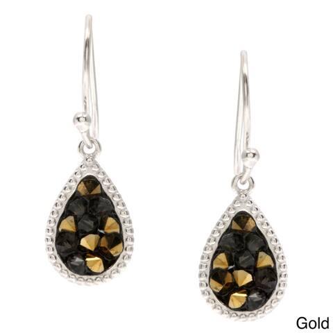 La Preciosa Sterling Silver Crystal Filled Teardrop Earrings