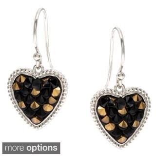 La Preciosa Sterling Silver Crystal Heart Dangle Earrings