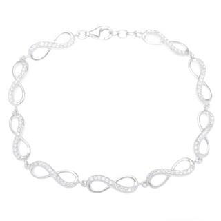 La Preciosa Sterling Silver Cucic Zirconia Infinity Link Bracelet
