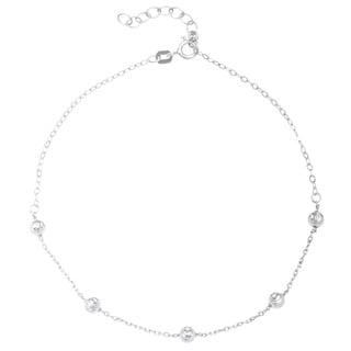 La Preciosa Sterling Silver Diamond-cut Beaded Anklet