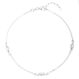 La Preciosa Sterling Silver Diamond-cut Oval Beaded Anklet