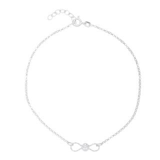 La Preciosa Sterling Silver Diamond-cut Bead Infinity Anklet