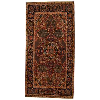Semi-antique 1970s Persian Hand-knotted Nahavand Hamadan Brown/ Navy Wool Area Rug (4'2 x 8'1)