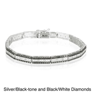 DB Designs Silvertone 1/4ct TDW Diamond Bar Link Bracelet (I-J, I2-I3)