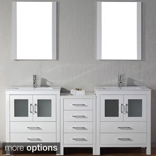 Virtu USA Dior 74 inch Double Sink Vanity Set in White