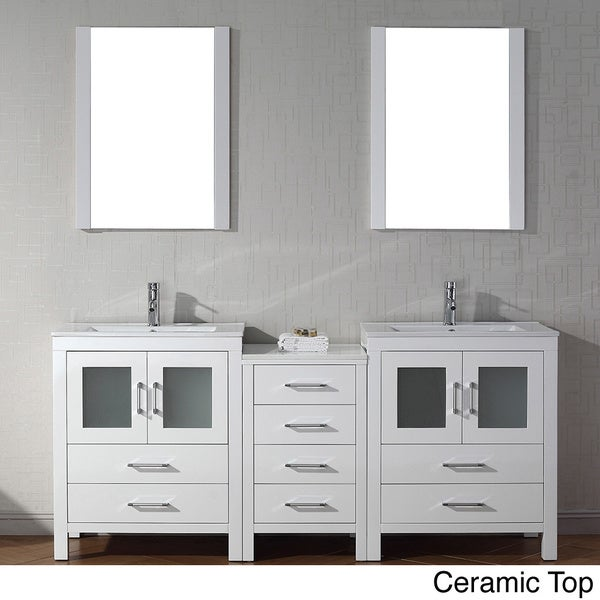 Shop virtu usa dior 74 inch double sink vanity set in white free shipping today overstock for 65 inch double bathroom vanity
