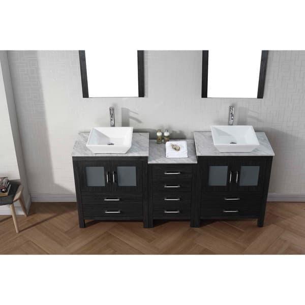 Virtu Usa Dior 74 Inch Double Sink Vanity Set In Zebra Grey Overstock 8910866