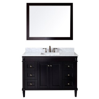 Virtu USA Tiffany 48 inch Single Sink Espresso Vanity with Carrara White Marble Countertop with Backsplash