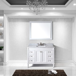 Virtu USA Tiffany 48 inch Single Sink White Vanity with Carrara White Marble Countertop with Backsplash