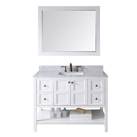 Virtu USA Winterfell 48-inch Italian Carrara White Marble Single Sink Bathroom Vanity Set