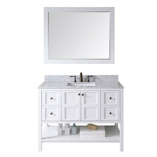 Virtu USA Winterfell 48-inch Italian Carrara White Marble Single Sink Bathroom Vanity Set