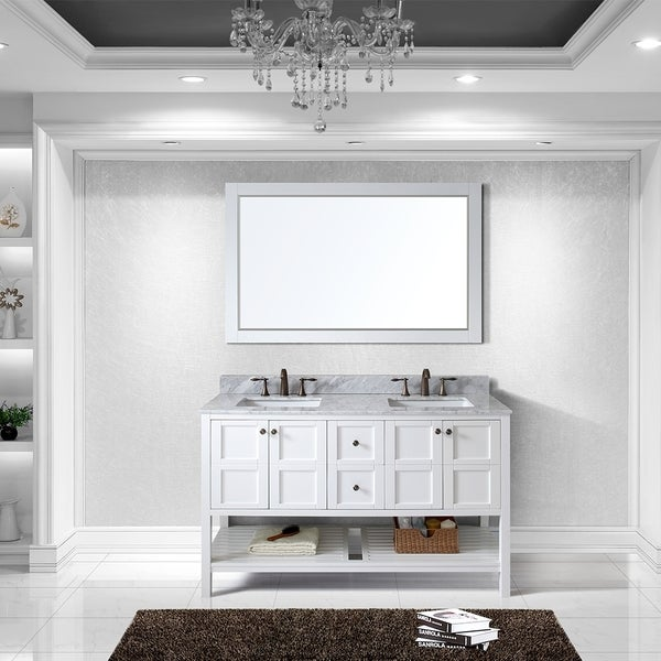 Virtu Usa Winterfell 60 Inch Double Sink White Vanity With