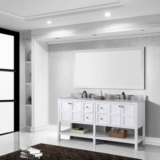 Virtu USA Winterfell 72-inch White Carrara Marble Double Sink Vanity and Mirror