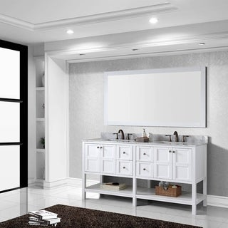 Virtu USA Winterfell 72-inch White Carrara Marble Double Sink Vanity and Mirror