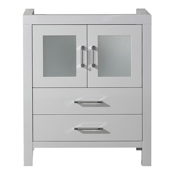 Virtu USA Dior 28 Inch White Single Sink Cabinet Only Bathroom Vanity