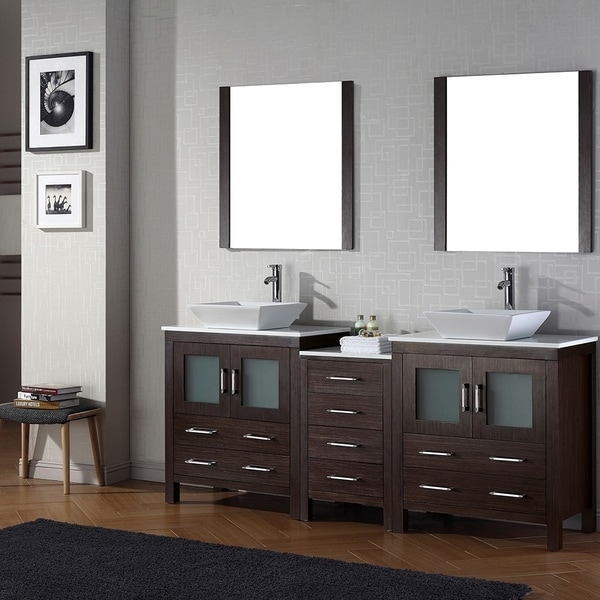 Shop virtu usa dior 78 inch double sink vanity set in espresso free shipping today overstock for 78 double sink bathroom vanity