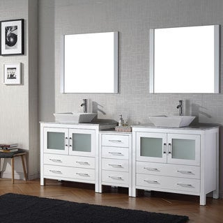 Virtu USA Dior 78 inch Double Sink Vanity Set in White