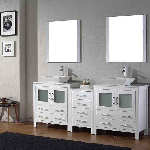 Virtu USA Dior 82 Inch Double Sink Vanity Set In White