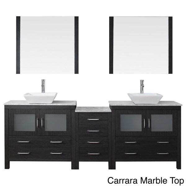 Virtu USA Dior 82 Inch Double Sink Vanity Set In Zebra Grey   Free Shipping  Today   Overstock.com   16129105