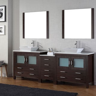 Virtu USA Dior 90 inch Double Sink Vanity Set in Espresso. Virtu USA Dior 90 inch Double Sink Vanity Set in White   Free