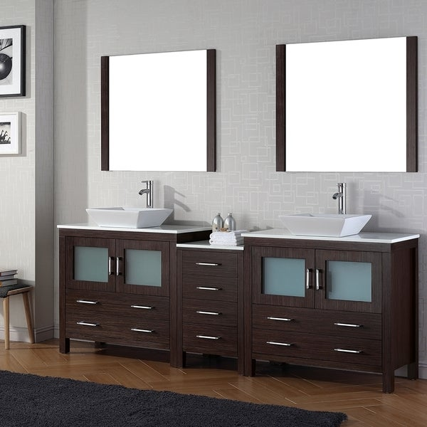 shop virtu usa dior 90 inch double sink vanity set in espresso free shipping today overstock