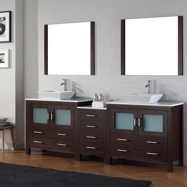 Virtu USA Dior 90 Inch Double Sink Vanity Set In Espresso
