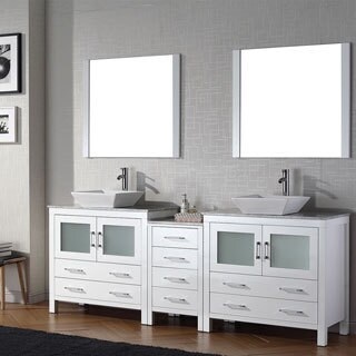 Virtu USA Dior 90 inch Double Sink Vanity Set in White