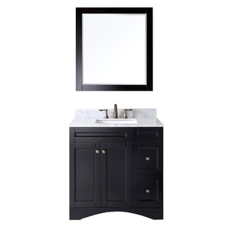 Virtu USA Elise 36 inch Single Sink Espresso Vanity with Carrara White Marble Countertop with Backsplash