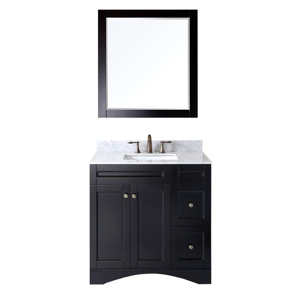 Shop virtu usa elise 36 inch single sink espresso vanity with carrara white marble countertop for 36 inch espresso bathroom vanity