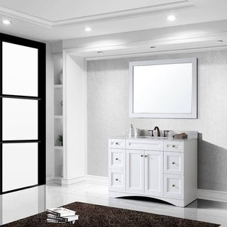 Virtu USA Elise 48 inch Single Sink White Vanity with Carrara White Marble Countertop with Backsplas