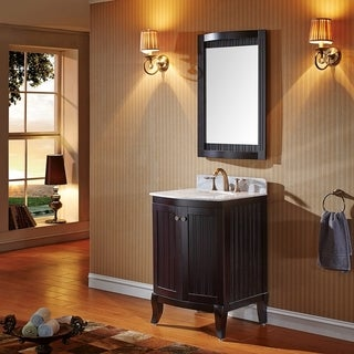 Virtu USA Khaleesi 24 inch Single Sink Espresso Vanity with Carrara White Marble Countertop with Backsplash