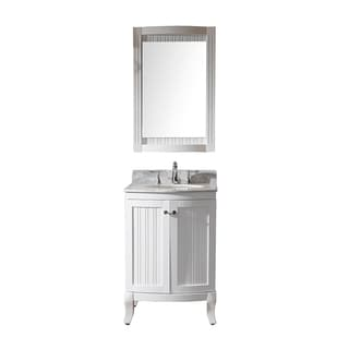 Virtu USA Khaleesi 24 inch Single Sink White Vanity with Carrara White Marble Countertop with Backsplash