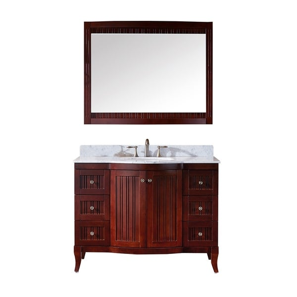 Virtu Usa Khaleesi 48 Inch Single Sink Antique Cherry Vanity With Carrara White Marble