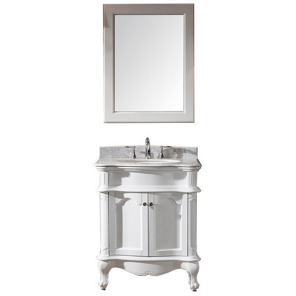 Virtu usa norhaven 30 inch single sink white vanity with for Virtu usa caroline 36 inch single sink bathroom vanity set