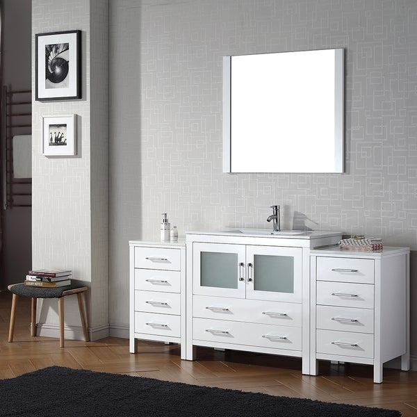 Virtu usa dior 72 inch single sink vanity set in white - 72 inch single sink bathroom vanity ...