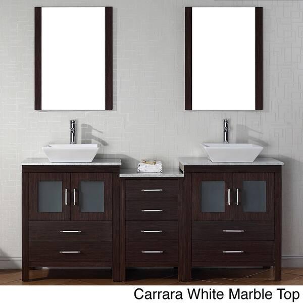 Virtu Usa Dior 74 Inch Double Sink Vanity Set In Espresso Overstock 8910937
