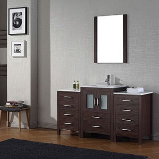 Virtu USA Dior 60 inch Single Sink Vanity Set in Espresso