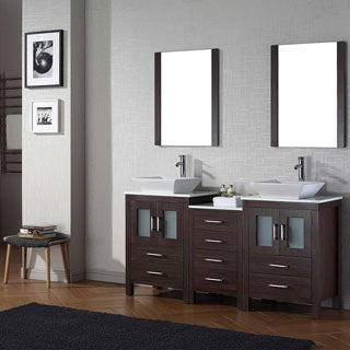 Virtu USA Dior 66 inch Double Sink Vanity Set in Espresso