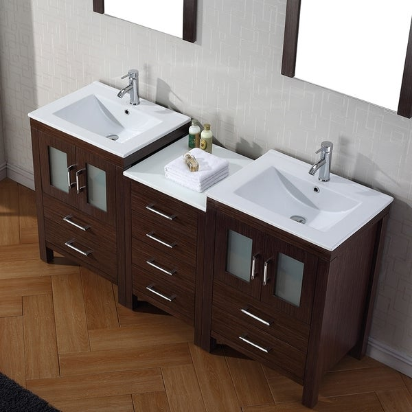 Virtu USA Dior 66 Inch Double Sink Vanity Set In Espresso Free