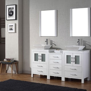Virtu USA Dior 66 inch Double Sink Vanity Set in White
