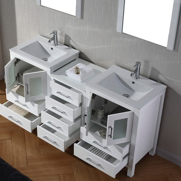 Virtu USA Dior 66 Inch Double Sink Vanity Set In White   Free Shipping  Today   Overstock.com   16129149