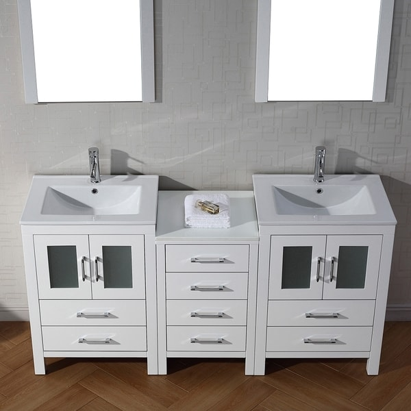 66 inch double vanity. Virtu USA Dior 66 inch Double Sink Vanity Set in White  Free Shipping Today Overstock com 16129149