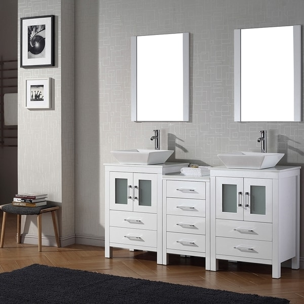 Shop virtu usa dior 66 inch double sink vanity set in white free shipping today overstock for 66 inch bathroom vanity cabinets