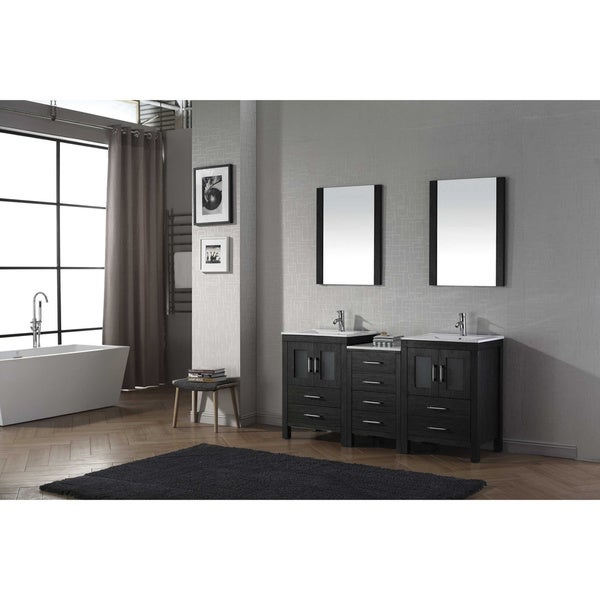 Virtu USA Dior Inch Double Sink Vanity Set In Zebra Grey Free - 66 inch bathroom vanity for bathroom decor ideas