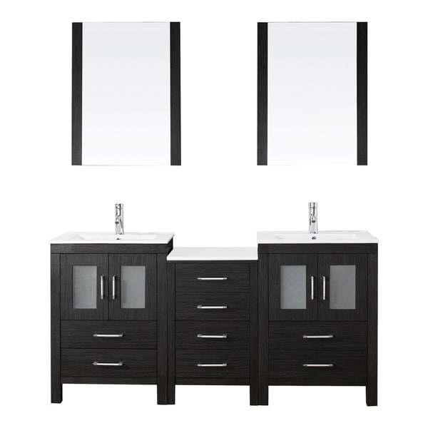 Shop virtu usa dior 66 inch double sink vanity set in zebra grey free shipping today for 66 inch bathroom vanity cabinets