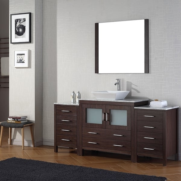 Virtu usa dior 66 inch single sink vanity set in espresso - 66 inch bathroom vanity single sink ...